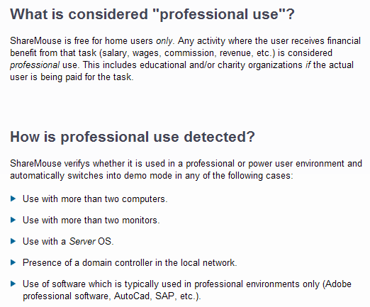 ShareMouse Detects Professional Use