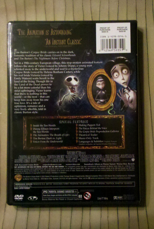 Corpse Bride - DVD Back Cover